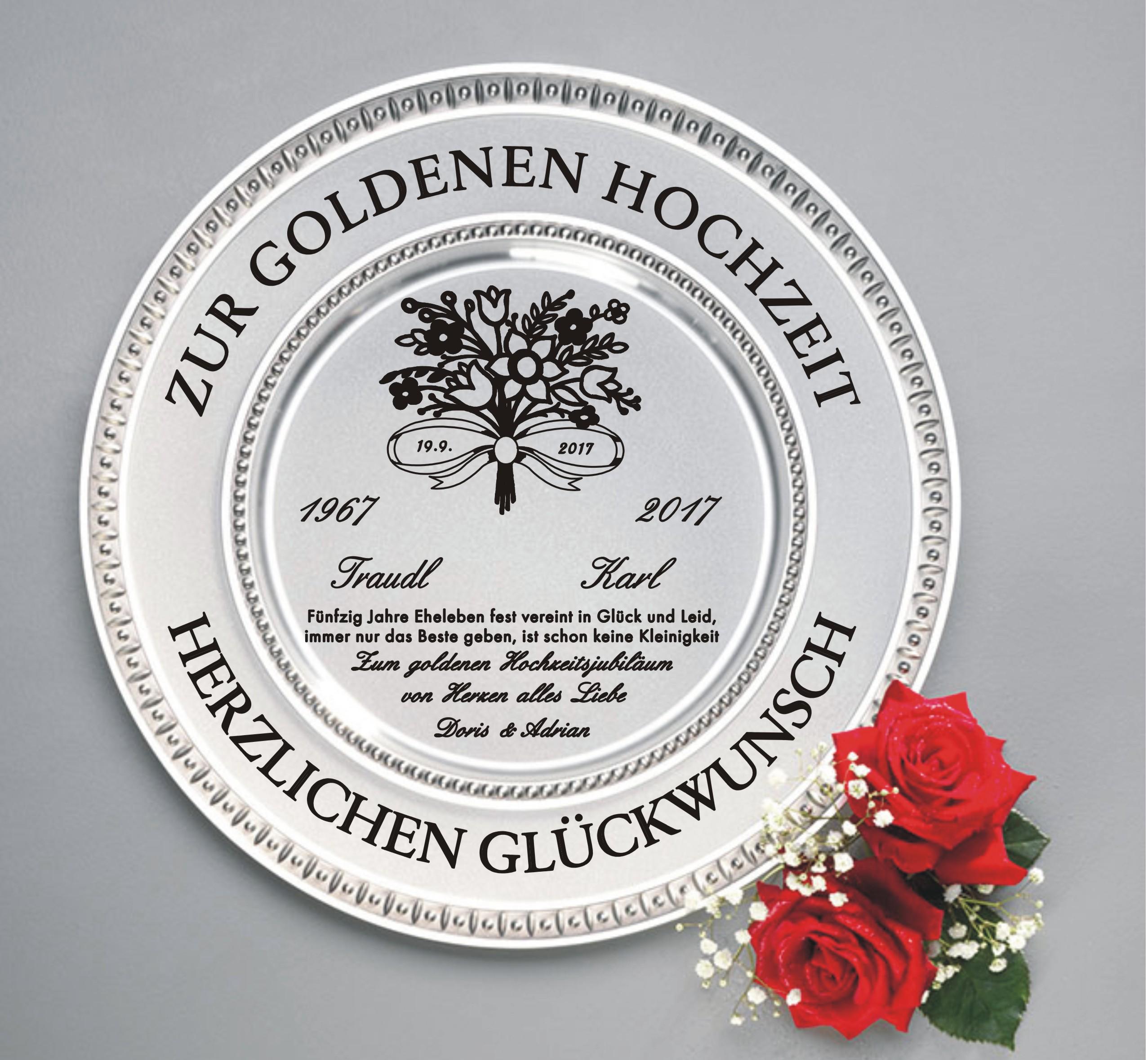 Diamantene Und Goldene Hochzeit Zinn Teller Mit Gravur Spruch