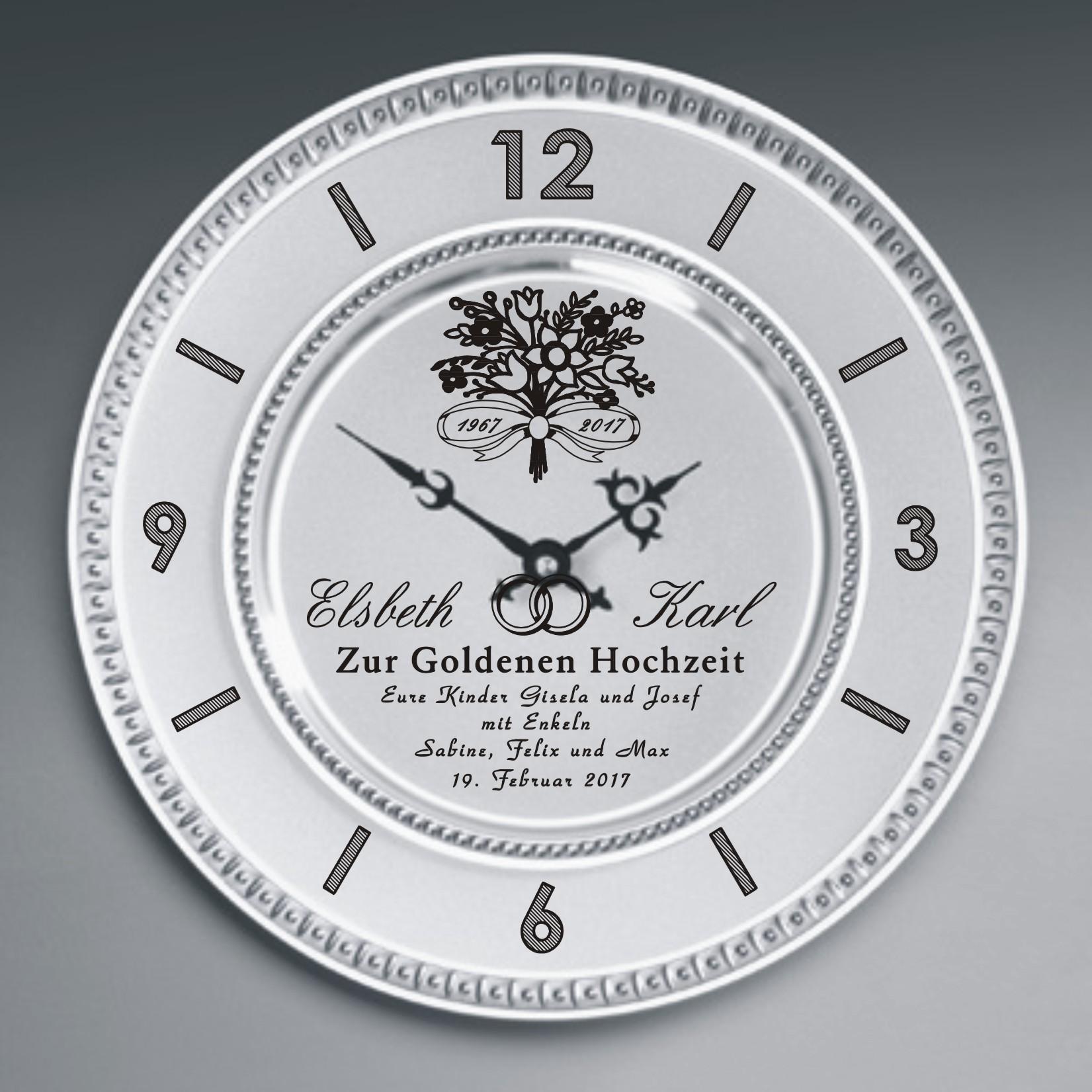 Diamantene Und Goldene Hochzeit Zinn Uhr Mit Gravur Blumenstrauss