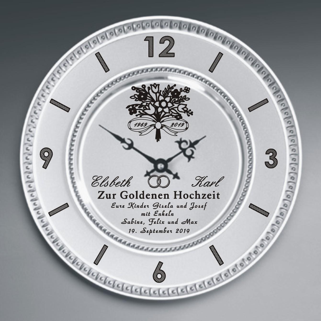 Zinn Uhr Mit Gravur Blumenstrauss